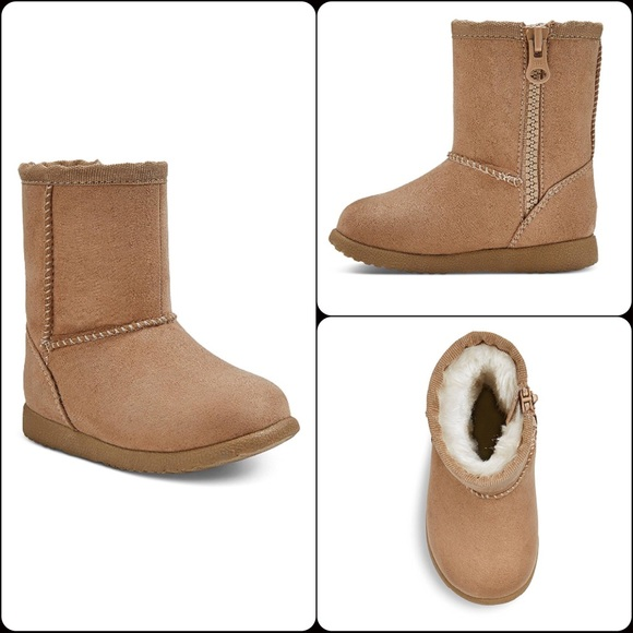 New Genuine Kids from Oshkosh Infant Girls Tan Aubrey Fleece Boots